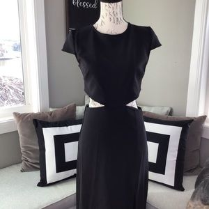 Lulu's Black Maxi Dress with Cutout Side and Back